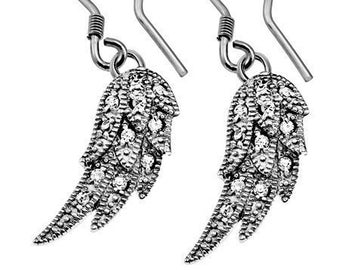 CZ Wing Earrings