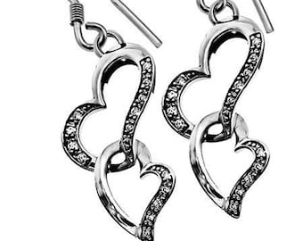 CZ Heart in Heart Earrings