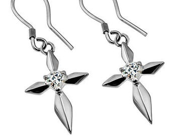 CZ Dagger Star Earrings