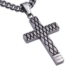 "Diamond Cross Necklace ""Forgiven"""