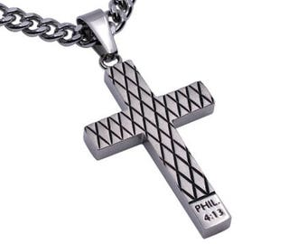 "Diamond Cross Necklace ""Christ My Strength"""