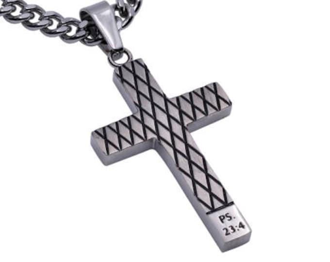 "Diamond Cross Necklace ""Fear Not"""