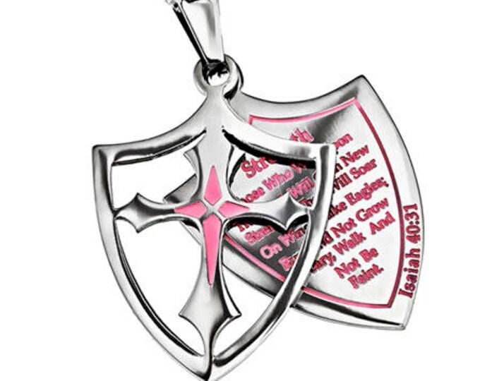 "2 Piece Shield Cross ""Strength"""