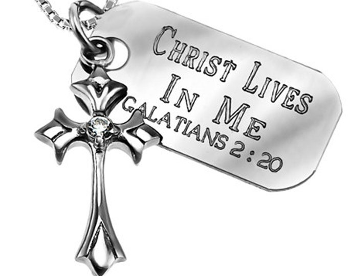 Spain star sterling cross necklace with engraved Bible Verse charm