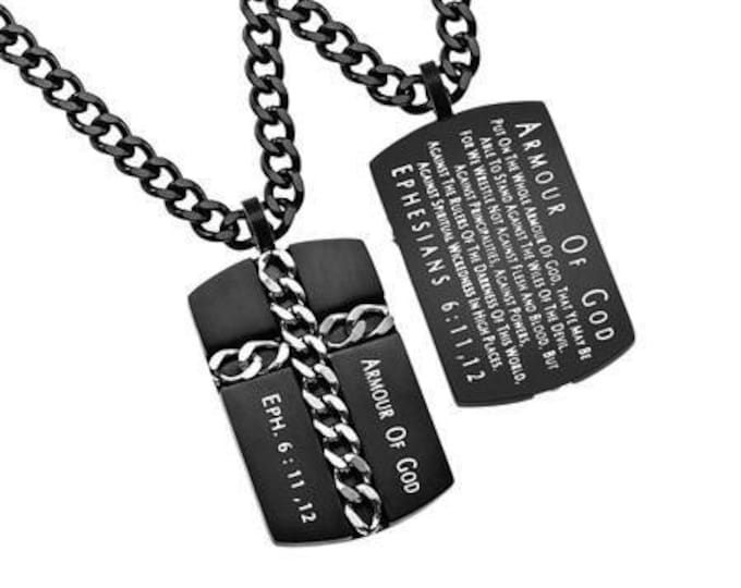 """Chain Cross Necklace """"Armor of God"""""""