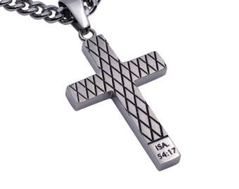 "Diamond Cross Necklace ""No Weapon"""