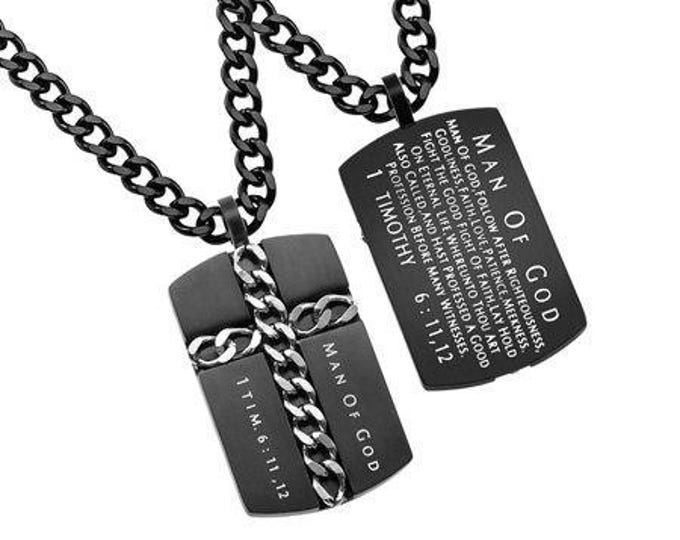 """Chain Cross Necklace """"Man Of God"""""""