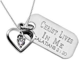 Dangling Heart Necklace/Custom Verse Tag- Women's