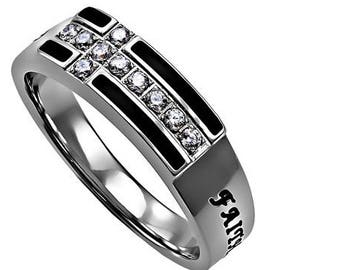 "Black Ensign Ring ""Faith Hope Love"""