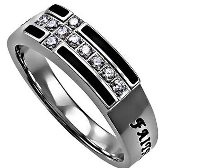 """Black Ensign Ring """"Faith Hope Love"""""""