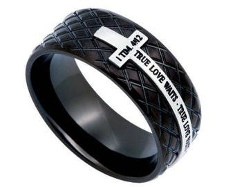 "Black Diamond Back Cross Ring ""True Love Waits"""