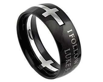 "Double Cross Ring ""I Follow Christ"""