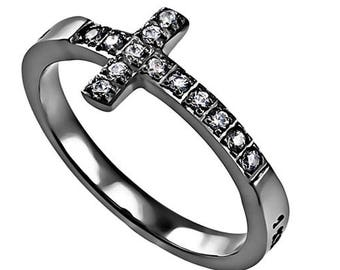 "Sideway Cross Ring ""I Know"""