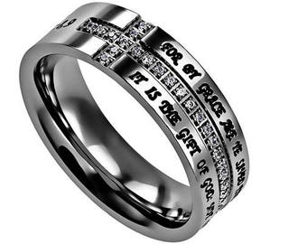 "Crescent Ring ""Saved By Grace"""