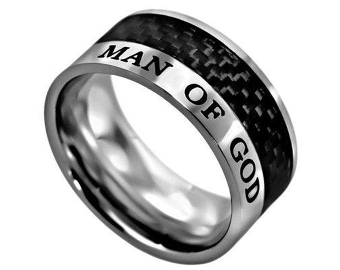 "Carbon Fiber Ring ""Man Of God"""