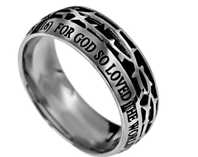 "Crown Of Thorns Ring ""John 3:16"""