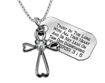 Daisy heart necklace /Custom Verse Tag- Women's