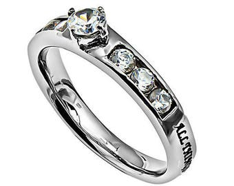 "Solitaire Ring ""Christ My Strength"""
