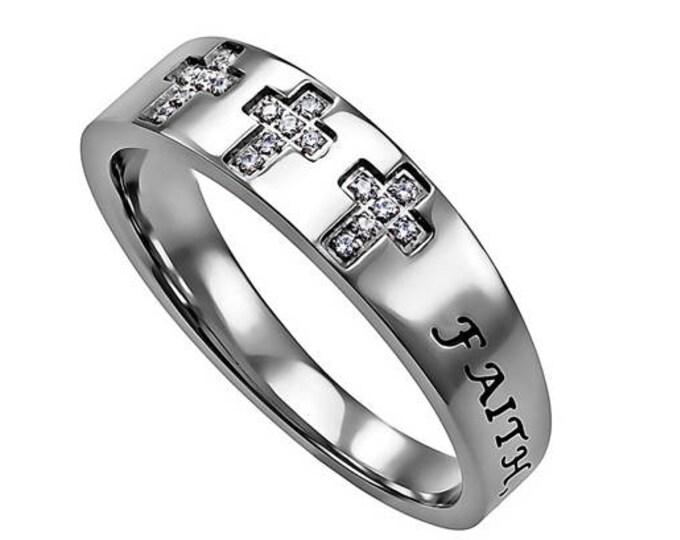 """Tri-Cross Ring """"Faith Hope Love"""""""