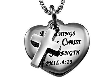 "Sweetheart Necklace ""Christ My Strength"""