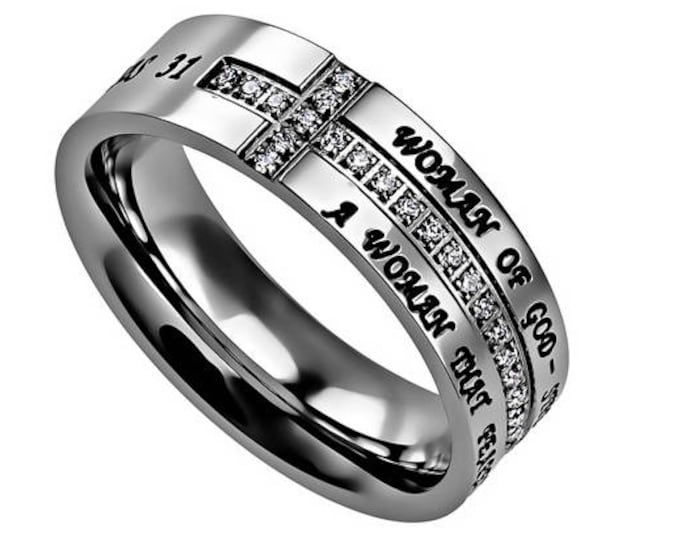 "Complete Cross Ring ""Woman Of God"""