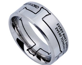 "Iron Cross Ring ""Jesus Is Lord"""