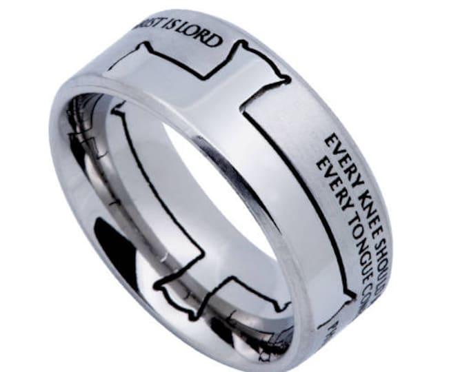 "Iron Cross Ring ""Jesus Is Lord"""
