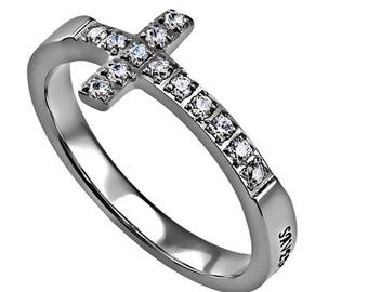 "Sideway Cross Ring ""Saved By Grace"""