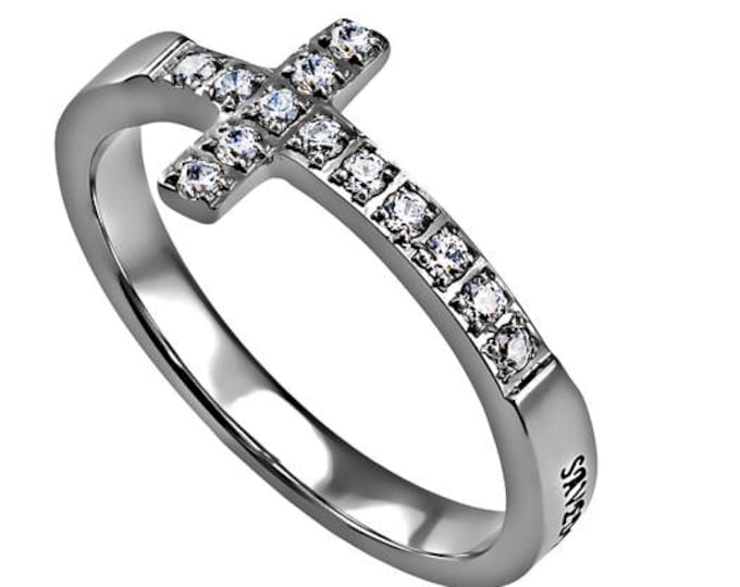 """One Way Cross Ring """"Saved By Grace"""""""
