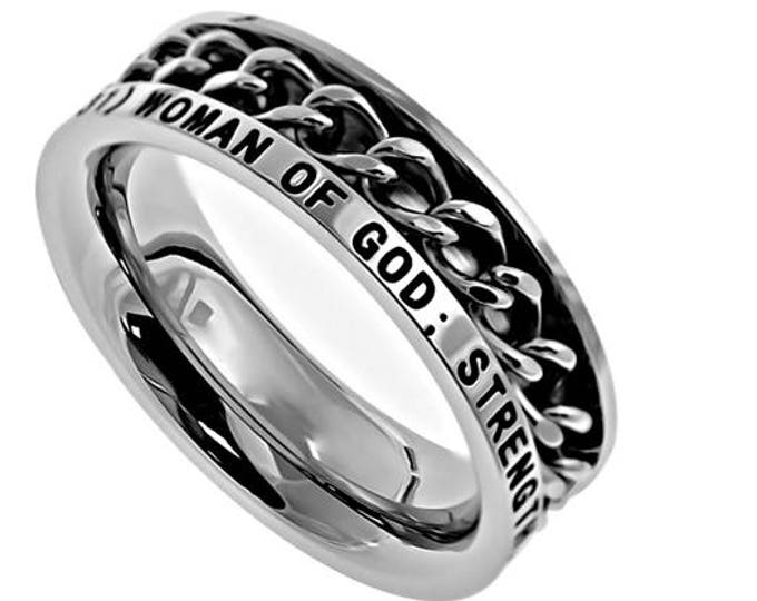 """Single Chain Ring """"Woman Of God"""""""
