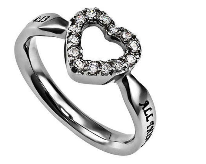 "Open Heart Ring ""Christ My Strength"""