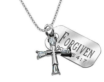 CZ Crusader Cross Necklace/Custom Verse Tag- Women's