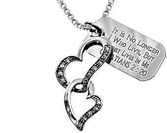 Heart In Heart Necklace/Custom Verse Tag- Women's