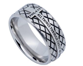 "Silver Diamond Ring ""Christ My Strength"""