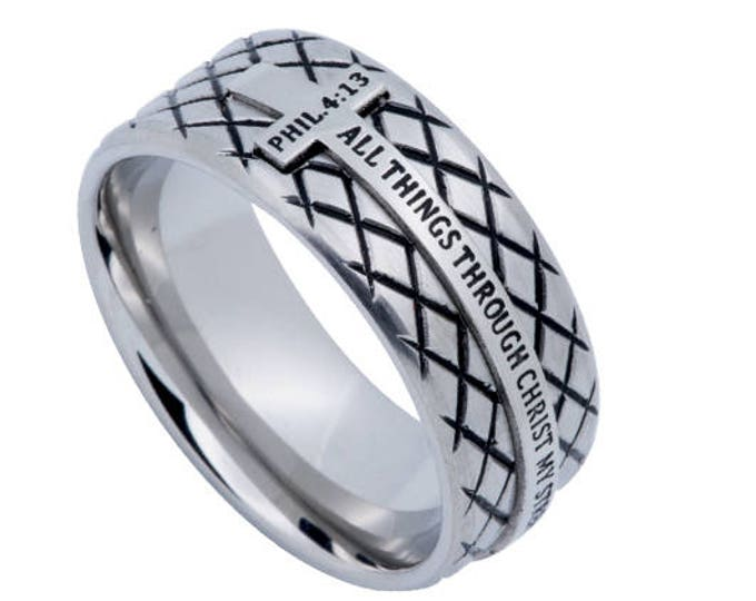 "Silver Diamond Ring ""Christ My Strength"""