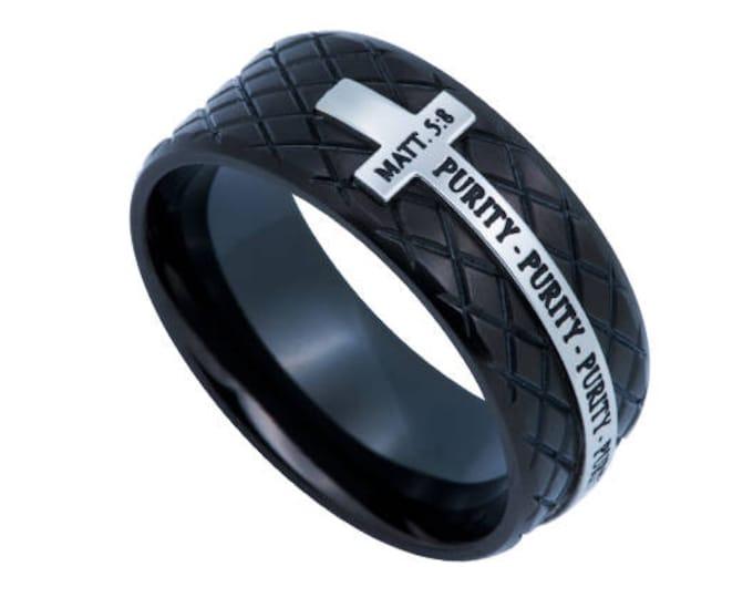"Black Diamond Back Cross Ring ""Purity"""