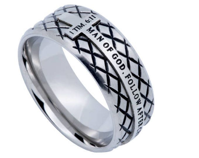 "Silver Diamond Ring ""Man Of God"""
