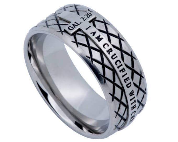 "Silver Diamond Ring ""Crucified"""
