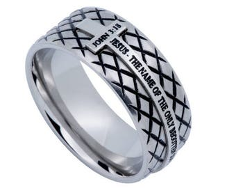 "Silver Diamond Ring ""John 3:16"""