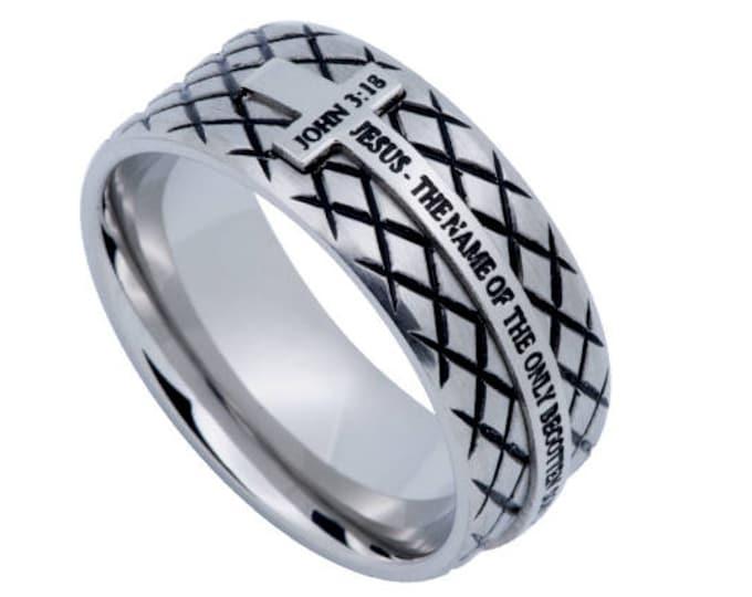 "Silver Diamond Ring ""John 3:16"""