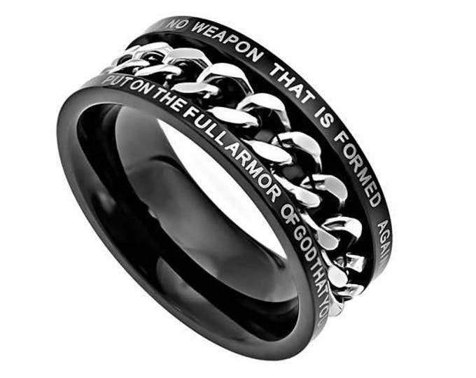 "Black Chain Ring  ""No Weapon"""