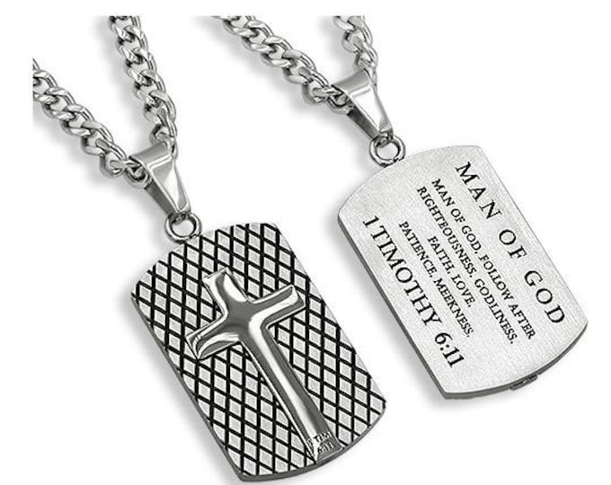 "Diamond Cut Cross ""Man Of God"""