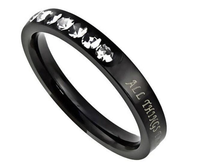 "Ebony Beauty Ring ""Christ My Strength"""