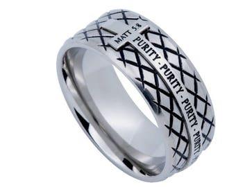 "Silver Diamond Back Cross Ring ""Purity"""
