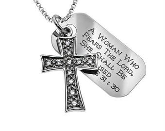 Crusader cross necklace /Custom Verse Tag- Women's