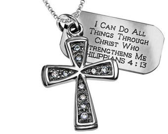 Trinity star Necklace/Custom Verse Tag- Women's