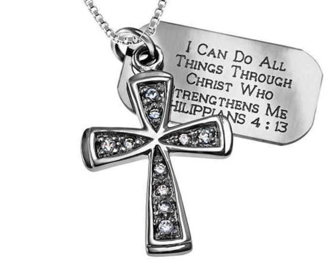 Trinity star Necklace/Custom Verse Tag- Women's