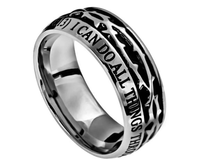 "Crown Of Thorns Ring ""Christ My Strength"""