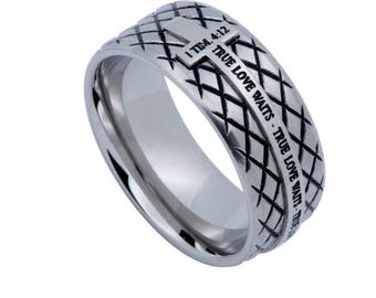 "Silver Diamond Back Cross Ring ""True Love Waits"""