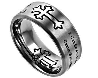 "Silver Neo Ring ""His Strength"""